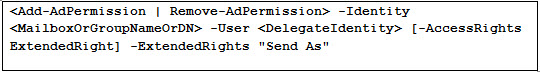 Add Permission Command - Configure Send as permissions
