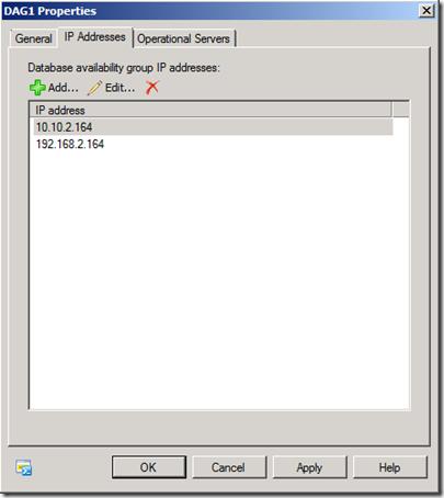 DAG 1 Properties - IP Address Conflict