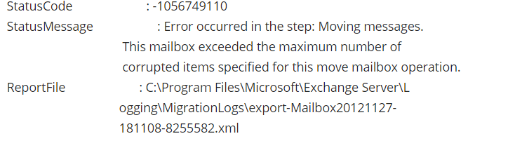 Exchange 2010 Export Mailbox to PST Skip Corrupted items