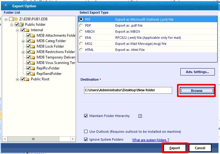 set destination file location and click export