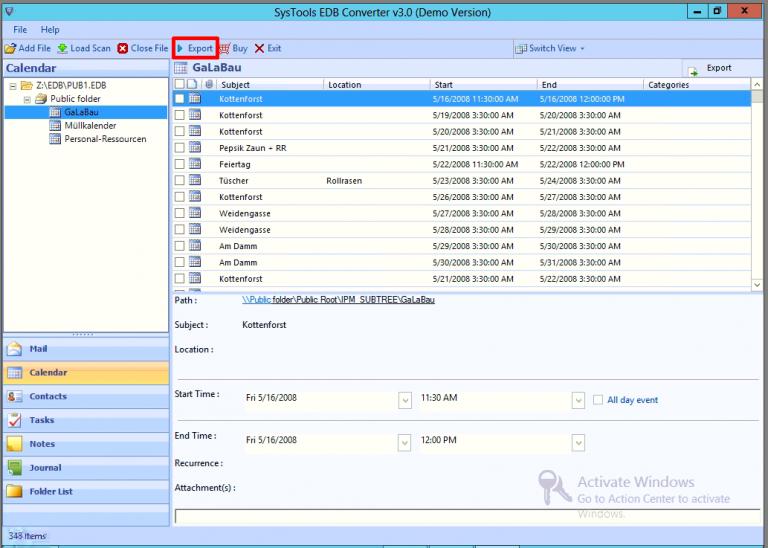 preview exchange public folder data